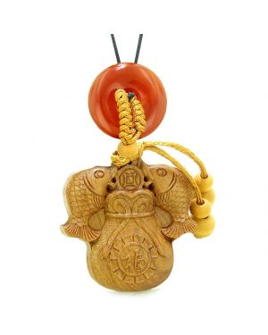Double Fortune Fish Money Bag Car Charm Home Decor Carnelian Donut Protection Powers Magic Amulet