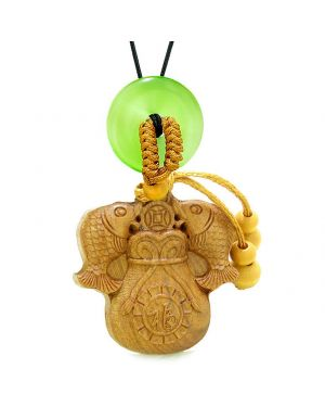 Double Fortune Fish Money Bag Car Charm Home Decor Green Simulated Cats Eye Donut Magic Amulet