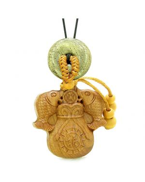 Double Fortune Fish Money Bag Car Charm Home Decor Golden Pyrite IrDonut Protection Magic Amulet