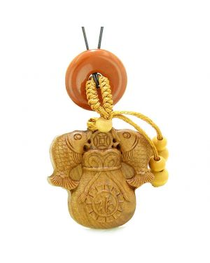 Double Fortune Fish Money Bag Car Charm Home Decor Red Jasper Donut Protection Powers Magic Amulet