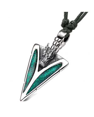 Arrowhead Courage Dragon Head Magic Powers Protection Amulet Sparkling Royal Green Adjustable Necklace