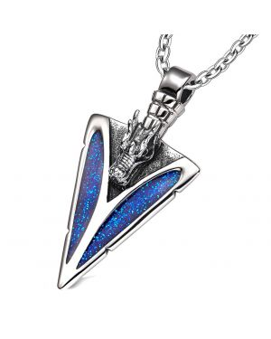 Arrowhead Courage Dragon Head Magic Powers Protection Amulet Sparkling Royal Blue 22 Inch Necklace