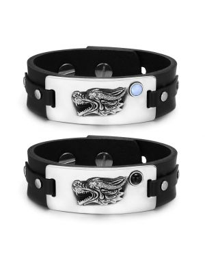 Courage Dragon Protection Amulets Couples Blue Simulated Cats Eye Simulated Onyx Leather Bracelets