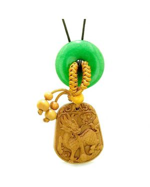 Lucky Dragon Car Charm or Home Decor Green Quartz Lucky Coin Donut Protection Magic Powers Amulet