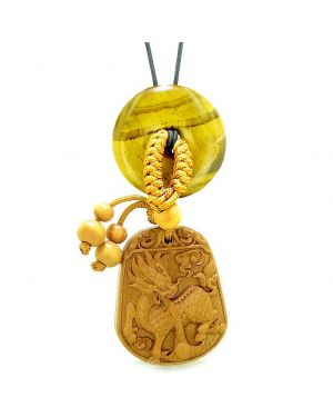 Lucky Dragon Car Charm or Home Decor Tiger Eye Lucky Coin Donut Magic Protection Powers Amulet