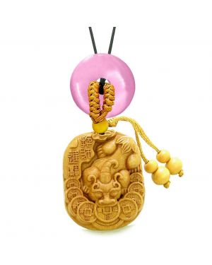 Courage Dragon Lucky Coins Car Charm Home Decor Pink Simulated Cats Eye Donut Protection Amulet