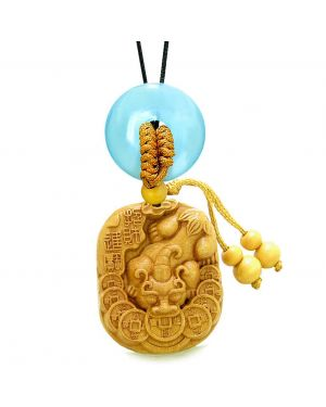 Courage Dragon Lucky Coins Car Charm Home Decor Blue Simulated Cats Eye Donut Protection Amulet
