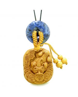 Courage Dragon Lucky Coins Car Charm or Home Decor Sodalite Donut Protection Powers Magic Amulet