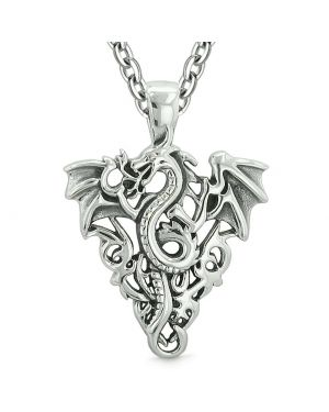 Amulet Flying Dragon Celtic Protection Knots Courage Fire Flames Lucky Charm Pendant Necklace