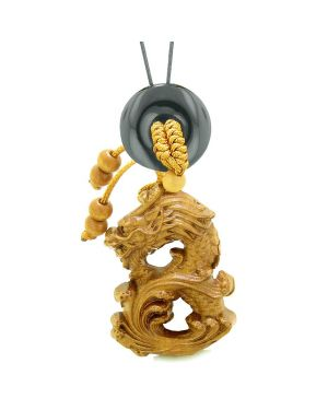 Brave Magic Dragon Lucky Car Charm or Home Decor Black Agate Donut Protection Powers Amulet