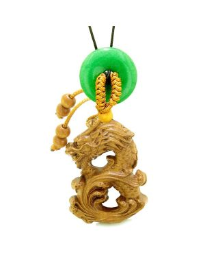 Brave Magic Dragon Lucky Car Charm or Home Decor Green Quartz Donut Protection Powers Amulet