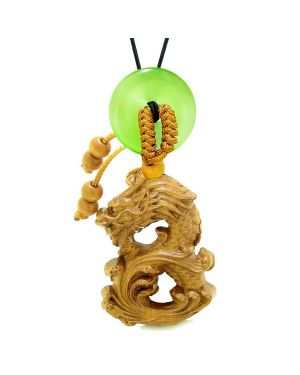 Brave Magic Dragon Lucky Car Charm or Home Decor Simulated Green Cats Eye Donut Protection Powers Amulet