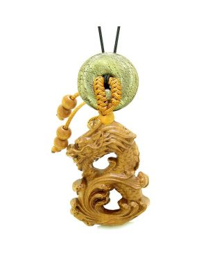 Brave Magic Dragon Lucky Car Charm or Home Decor Golden Pyrite Iron Donut Protection Powers Amulet