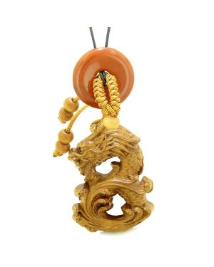 Brave Magic Dragon Lucky Car Charm or Home Decor Red Jasper Donut Protection Powers Amulet