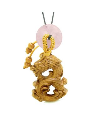 Brave Magic Dragon Lucky Car Charm or Home Decor Rose Quartz Donut Protection Powers Amulet