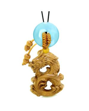 Brave Magic Dragon Lucky Car Charm or Home Decor Simulated Blue Cats Eye Donut Protection Powers Amulet