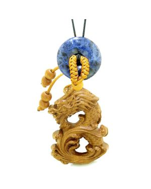 Brave Magic Dragon Lucky Car Charm or Home Decor Sodalite Donut Protection Powers Amulet