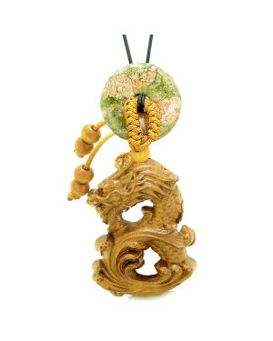 Brave Magic Dragon Lucky Car Charm or Home Decor Unakite Donut Protection Powers Amulet