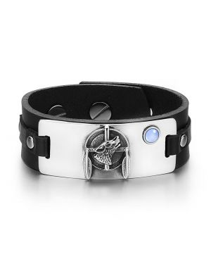 Howling Wolf Dreamcatcher Magic Amulet Blue Simulated Cats Eye Adjustable Black Leather Bracelet