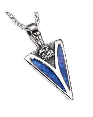 Arrowhead American Eagle Head Brave Powers Protection Amulet Sparkling Blue Pendant 18 Inch Necklace