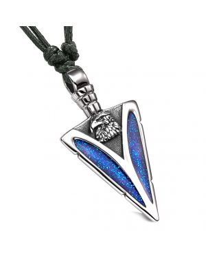 Arrowhead American Eagle Head Brave Powers Protection Amulet Sparkling Blue Pendant Adjustable Necklace