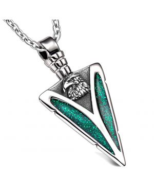 Arrowhead American Eagle Head Brave Powers Protection Amulet Sparkling Green Pendant 18 Inch Necklace