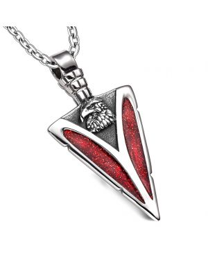Arrowhead American Eagle Head Brave Powers Protection Amulet Sparkling Royal Red Pendant 22 Inch Necklace