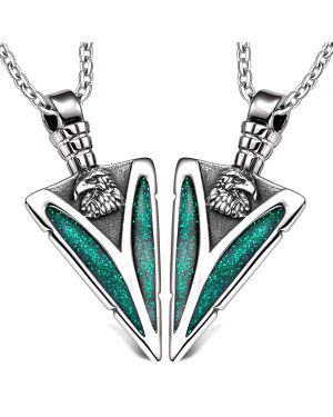 Arrowhead Wild American Eagle Head Love Couples or BFF Set Protection Amulets Sparkling Green Necklaces