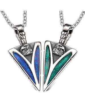 Arrowhead Wild American Eagle Head Love Couples BFF Set Protection Amulets Sparkling Blue Green Necklaces