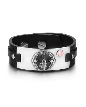 Howling Wolf Wild American Eagles Amulet Tag Pink Simulated Cats Eye Black Leather Bracelet