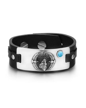 Howling Wolf Wild American Eagles Amulet Tag Simulated Turquoise Adjustable Black Leather Bracelet