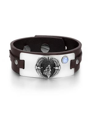Howling Wolf Wild American Eagles Amulet Tag Blue Simulated Cats Eye Brown Leather Bracelet