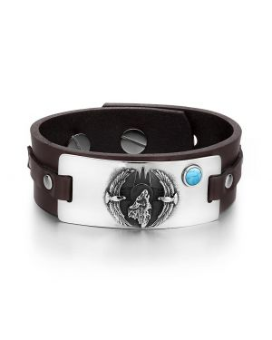 Howling Wolf Wild American Eagles Amulet Tag Simulated Turquoise Dark Brown Leather Bracelet
