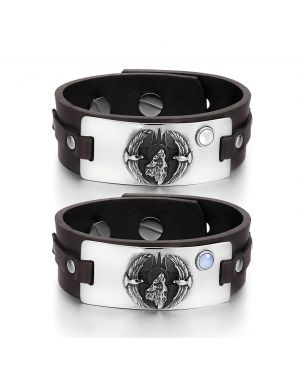 Howling Wolf American Eagles Amulet Couples White Blue Simulated Cats Eye Brown Leather Bracelets