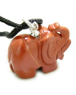 Elephant Good Luck Talisman in Red Jasper Gem Pendant Necklace