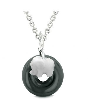 Cute Small Lucky Charm White Elephant Amulet Magic Spiritual Powers Black Agate Donut 18 Inch Necklace