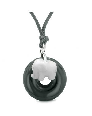 Cute Small Lucky Charm White Elephant Amulet Magic Spiritual Powers Black Agate Donut Adjustable Necklace