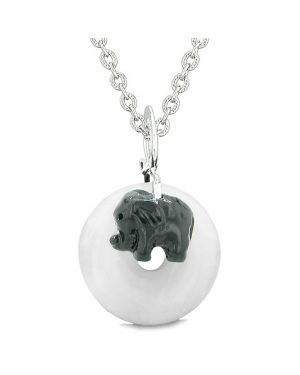 Cute Small Lucky Charm Black Elephant Amulet Magic Spiritual Powers White Quartz Donut 22 Inch Necklace