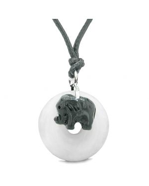 Cute Small Lucky Charm Black Elephant Amulet Magic Spiritual Power White Quartz Donut Adjustable Necklace