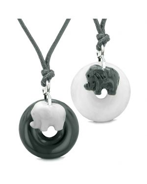 Cute Small Lucky Charm Elephant Amulets Love Couples BFF Set White Quartz Black Agate Donut Necklaces