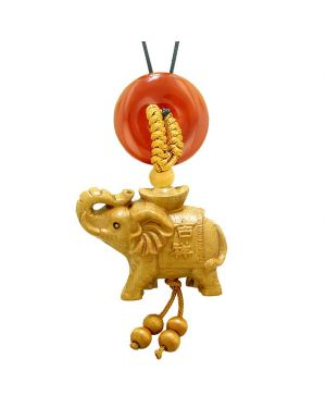 Good Luck Elephant Money Ingot Car Charm or Home Decor Carnelian Lucky Coin Donut Protection Amulet
