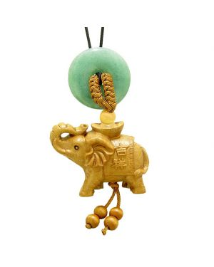 Good Luck Elephant Money Ingot Car Charm or Home Decor Green Quartz Lucky Coin Donut Protection Amulet