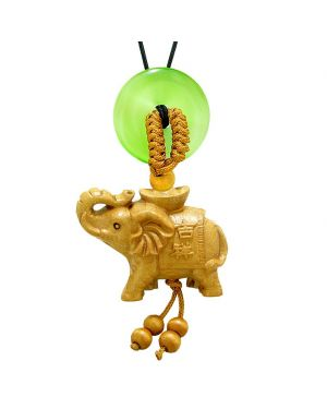 Good Luck Elephant Money Ingot Car Charm or Home Decor Green Simulated Cats Eye Lucky Coin Donut Amulet