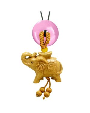 Good Luck Elephant Money Ingot Car Charm or Home Decor Pink Simulated Cats Eye Lucky Coin Donut Amulet