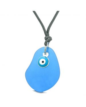 Handcrafted Sea Glass Ocean Blue Amulet Evil Eye Protection Lucky Charm Magic Powers Adjustable Necklace