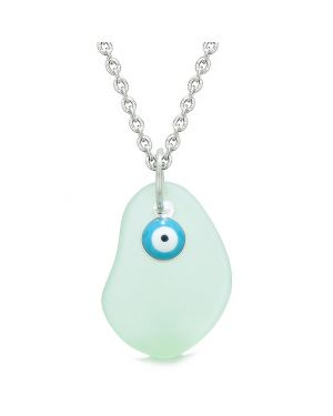 Handcrafted Sea Glass Foam Green Amulet Evil Eye Protection Lucky Charm Magic Powers 22 Inch Necklace