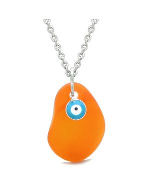 Handcrafted Sea Glass Royal Orange Amulet Evil Eye Protection Lucky Charm Magic Powers 22 Inch Necklace