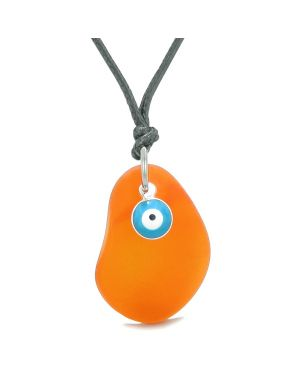 Handcrafted Sea Glass Royal Orange Amulet Evil Eye Protection Lucky Charm Magic Powers Adjustable Necklace