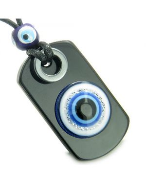 Amulet Evil Eye ReflectiProtection Powers Spiritual Dog Tag Black Onyx Hematite Pendant Necklace