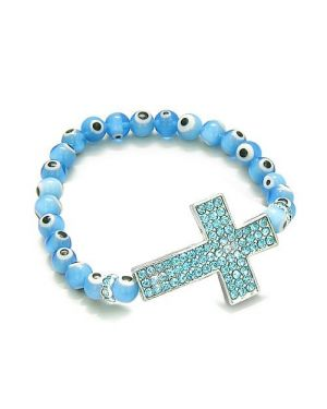 Amulet Evil Eye ProtectiMagic Cross Charm Spiritual Bracelet Cute Blue Swarovski Elements Beads